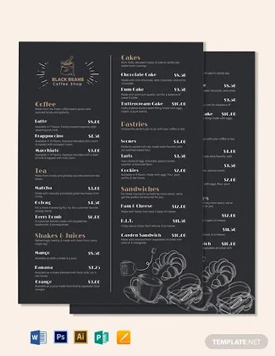 modern cafe coffee shop menu template