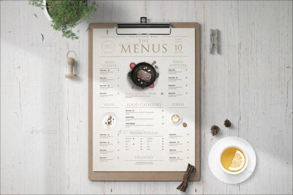 modern food menu template download