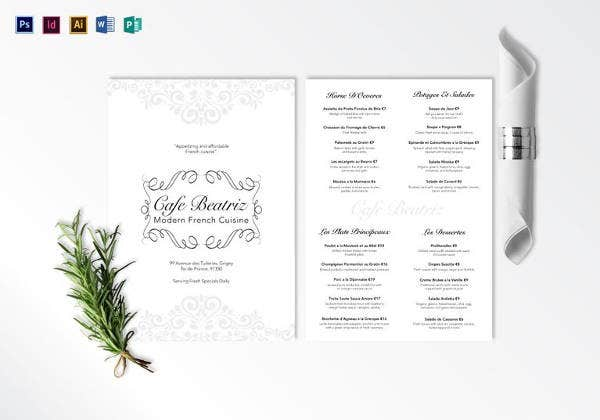 16 french menu templates free sample example format download