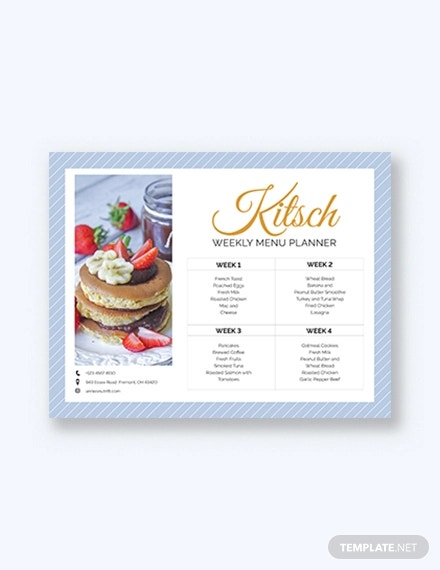 modern monthly menu planner template