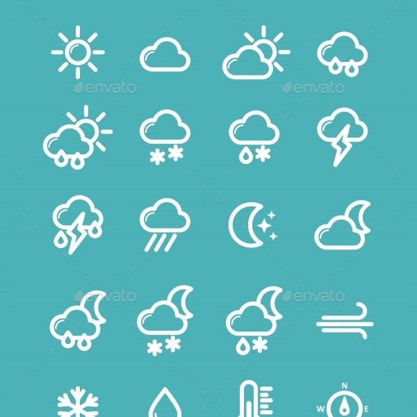 modern weather icons suite