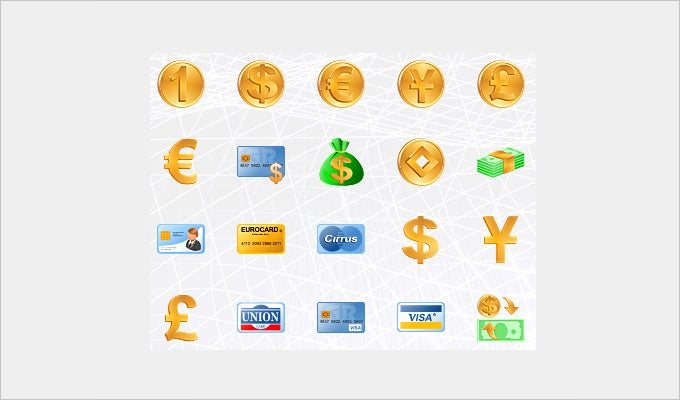 money toolbar icons