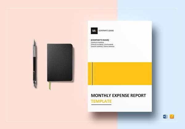 monthly expense report template to print