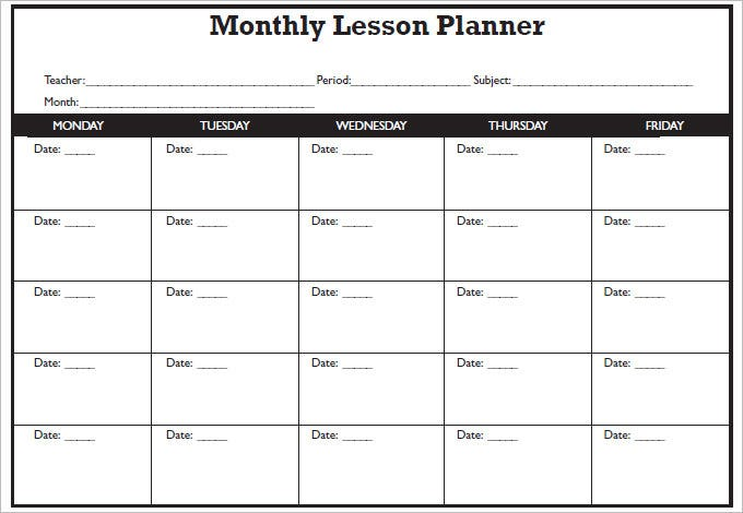 blank lesson plan template word