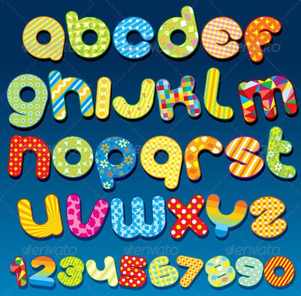 mottle vector alphabets clipart