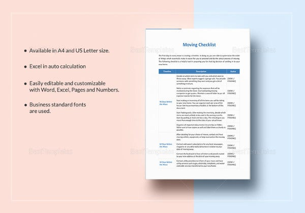Moving checklist template 19 word excel pdf documents download moving checklist template cheaphphosting