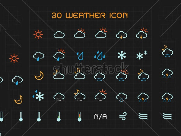 multi color weather icon set