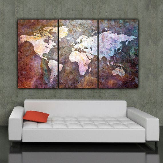 multicolor world map poster