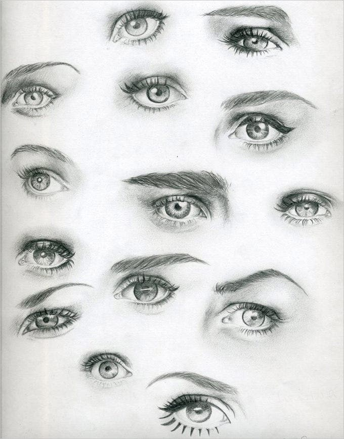 multiple eye collection drawing