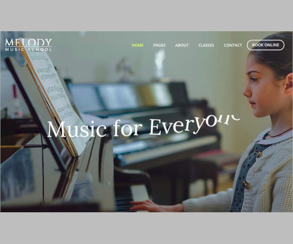 music school wordpress website template