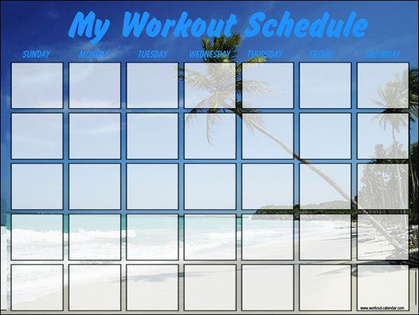 Workout Calendar Template - 7 Free Excel, Word Documents Download