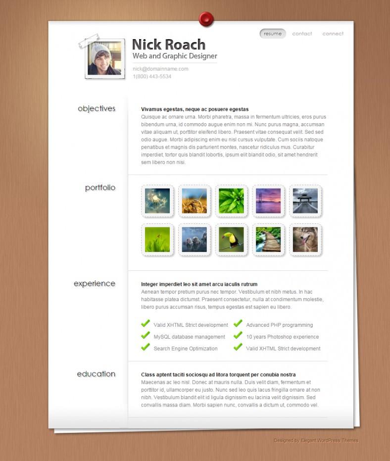 MyResume vCard WordPress Theme
