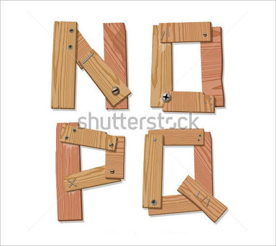 n o p q wooden alphabet letters