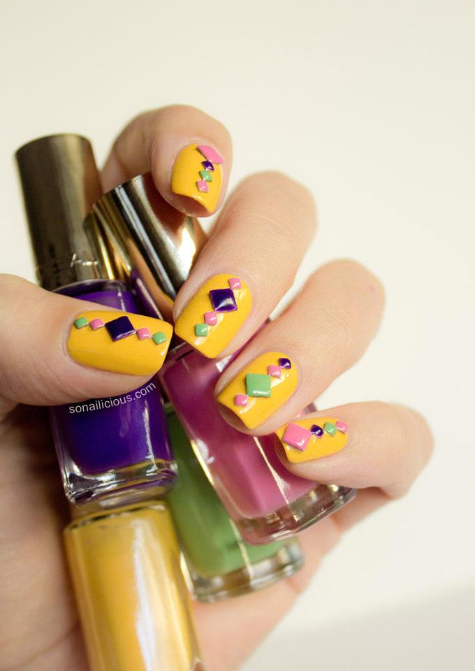 neon mosaic summer nail design