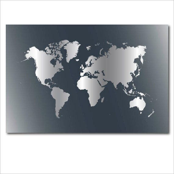 neutral world map poster