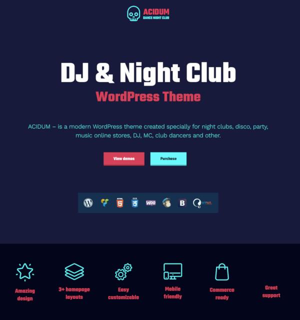 night club dj wordpress theme