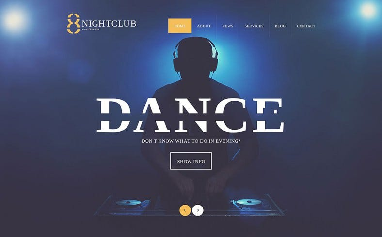 nightlife wordpress responsive template 788x490