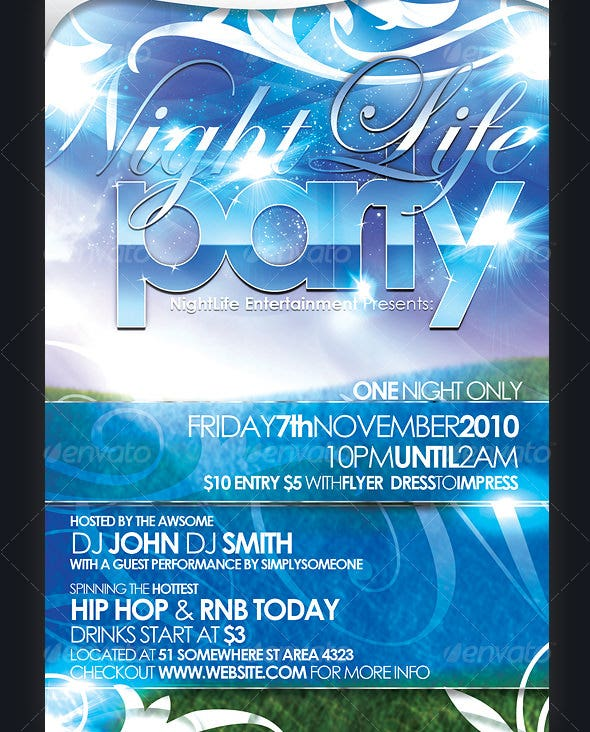 nightlife party postcard flyer template