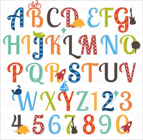 nursery alphabet clipart letters for boy kids