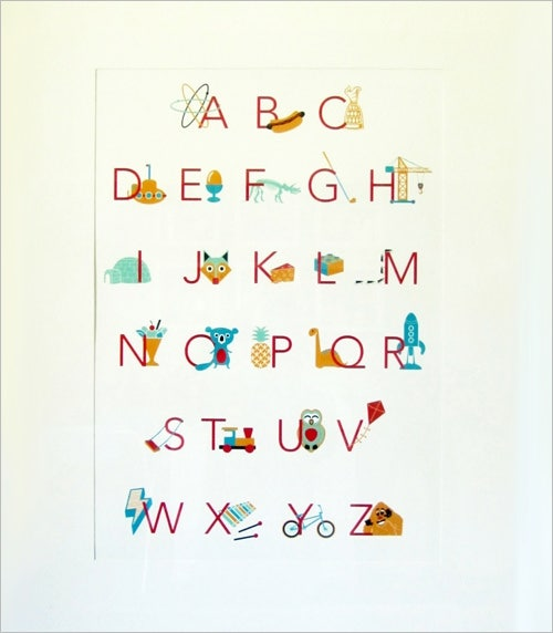 Nursery Alphabet Letter Wall Art For Kids Room