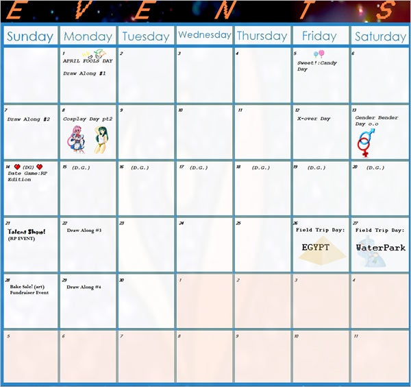sample calendar of events template