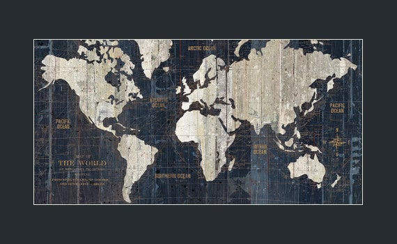 old blue world map poster