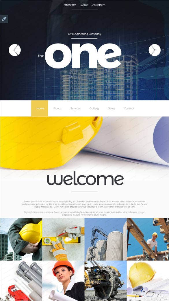 one civil engineering parallax website template