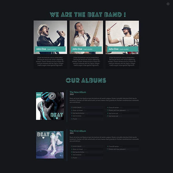 one page music band joomla template