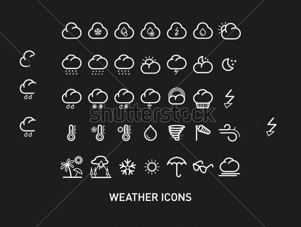 outline weather icons suite