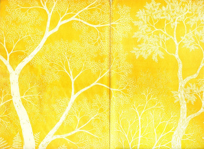 paper texture yellow tree double page