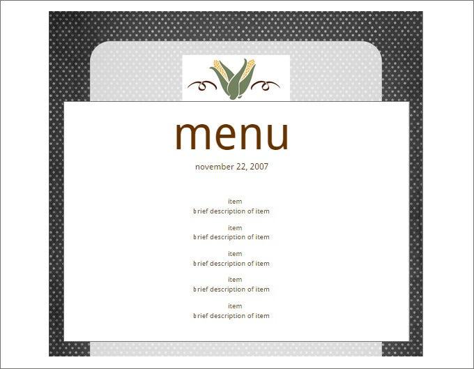 Blank Menu Templates Free Download - Free printable drink menu template