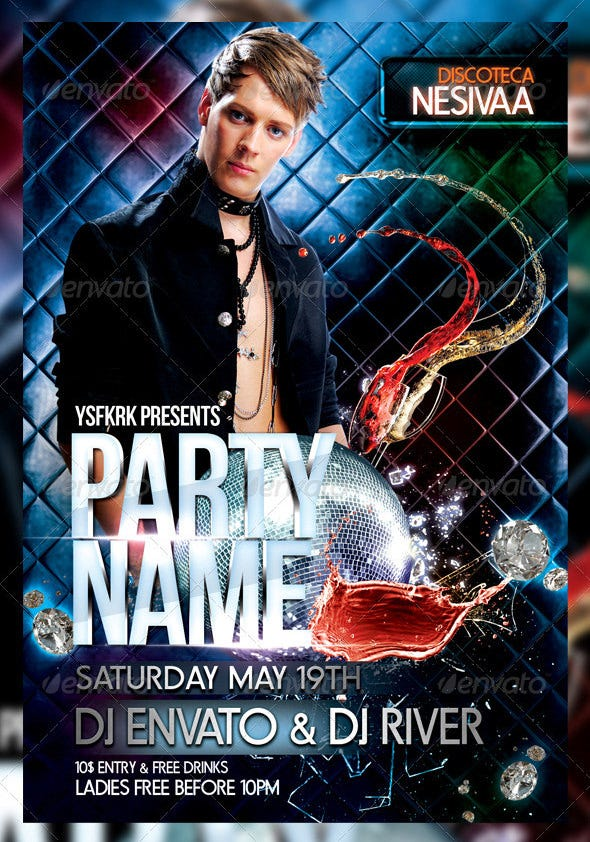 party name night club flyer template