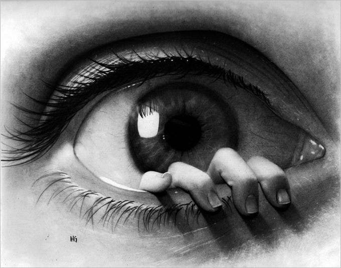 peeping eye pencil drawing