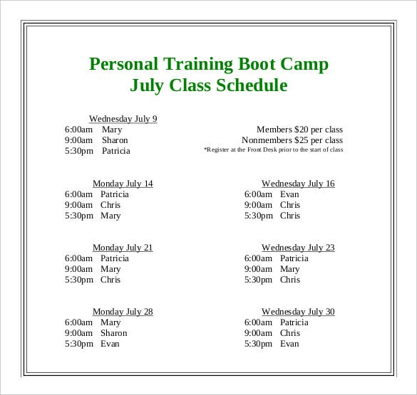 personal-training-camp-class-schedule