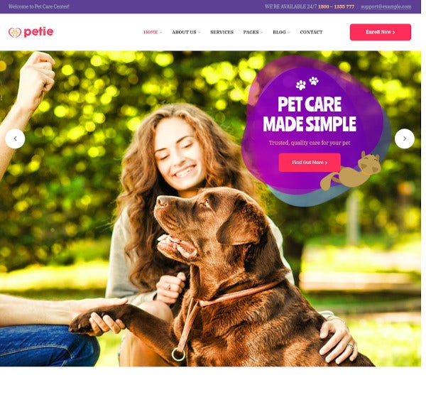 pet care center veterinary wordpress theme