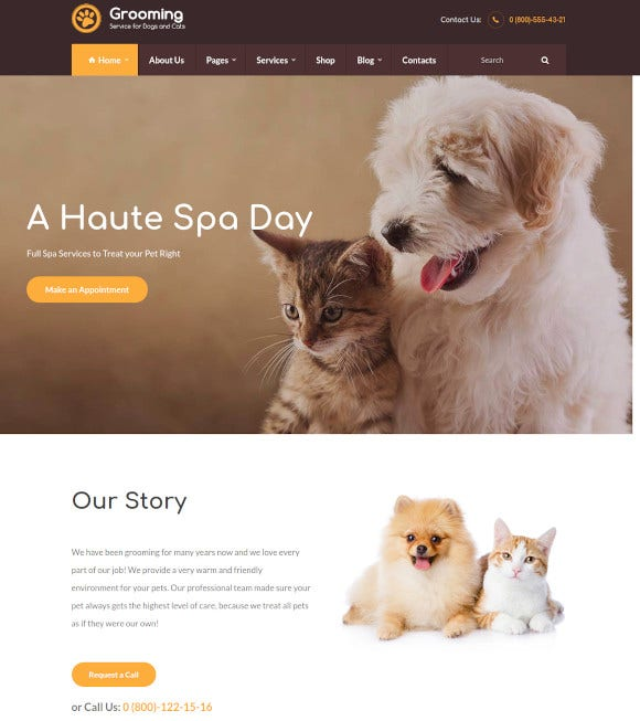 pet grooming wordpress theme