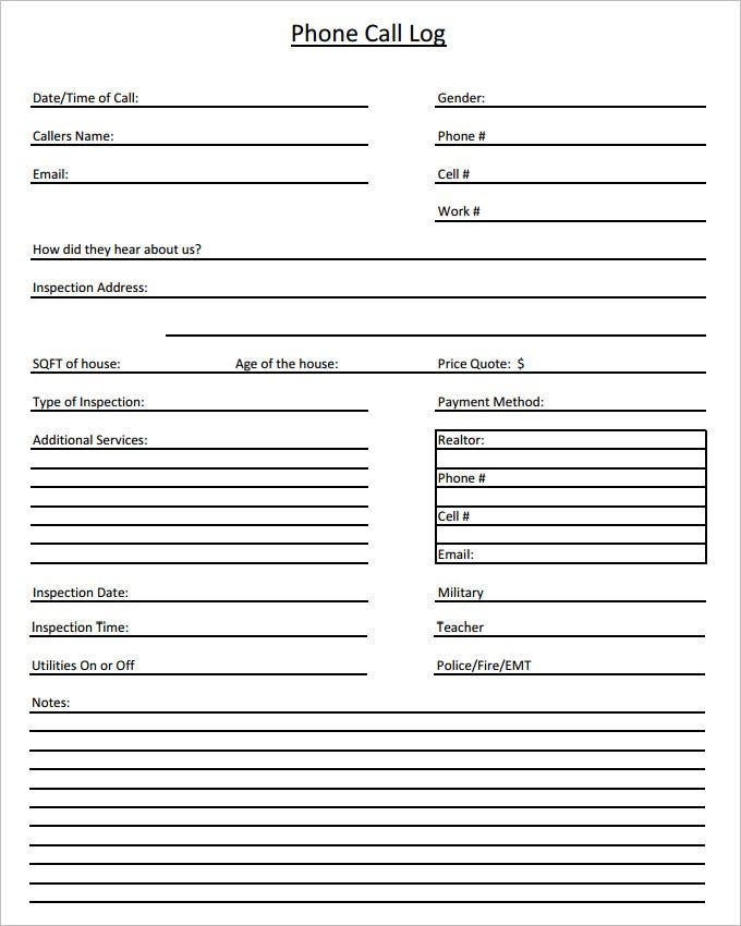 Call Log Template   Free Word Excel Pdf Documents Download