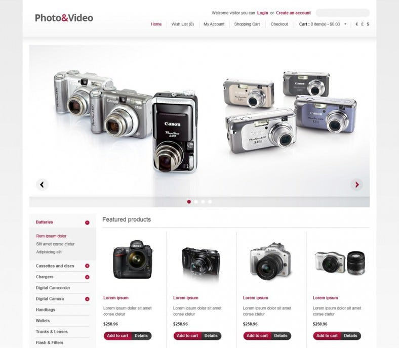 photo video store opencart template 788x688