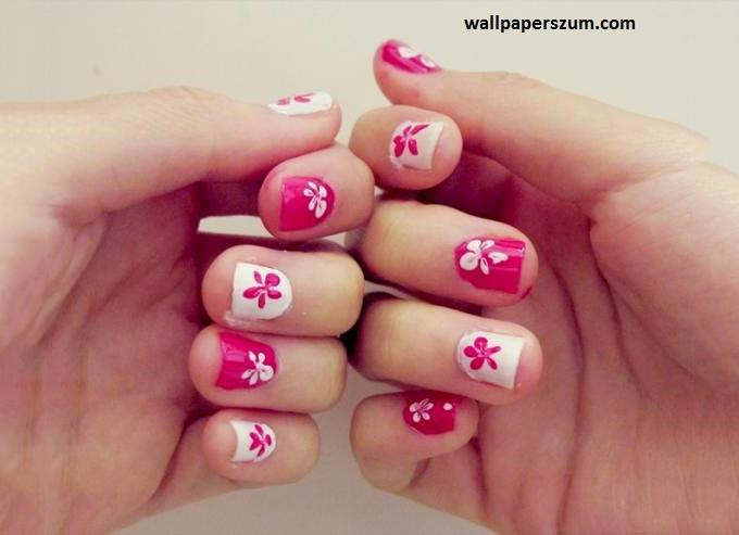 pink flower nail design