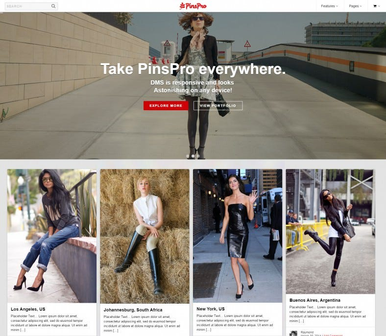 Pin-Board Style WordPress Theme