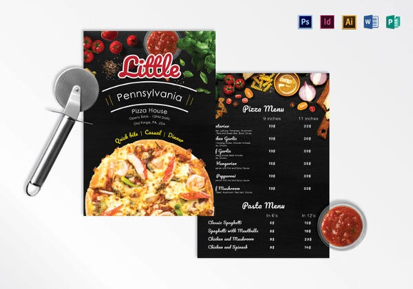 pizza menu illustrator template