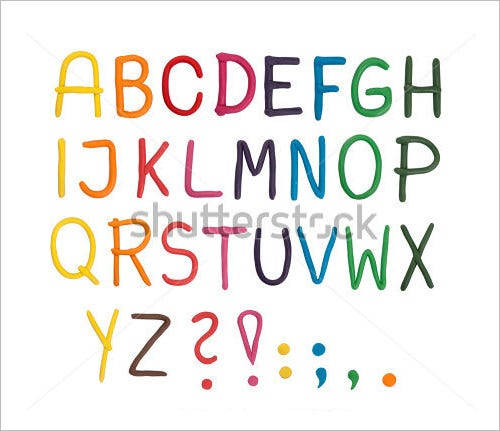 plasticine isolated nursery alphabet letter art set