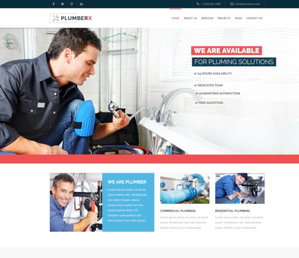 plumber construction joomla template