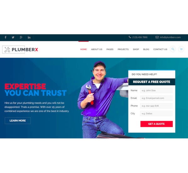 plumber construction repairing wordpress theme