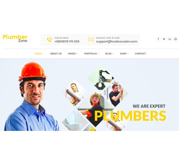 plumber zone repair construction wordpress theme
