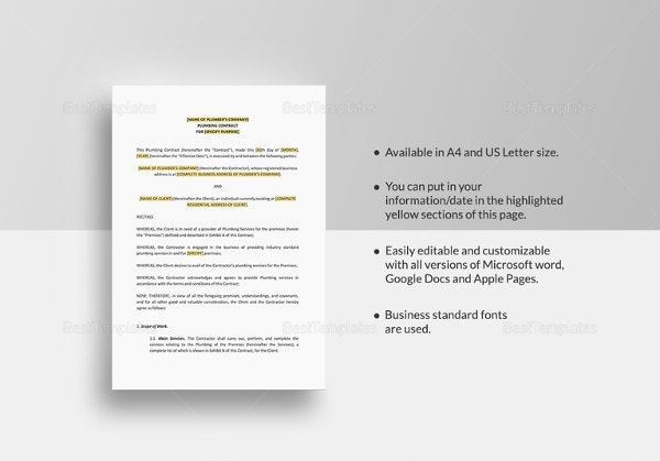 Plumbing Contract Template In Google Docs  Microsoft Contract Templates