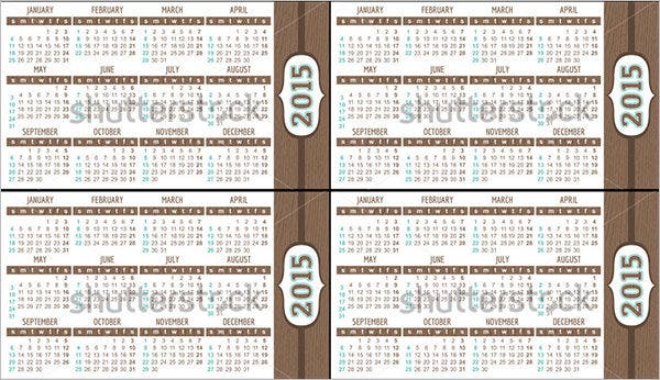pocket calendar 2015 template