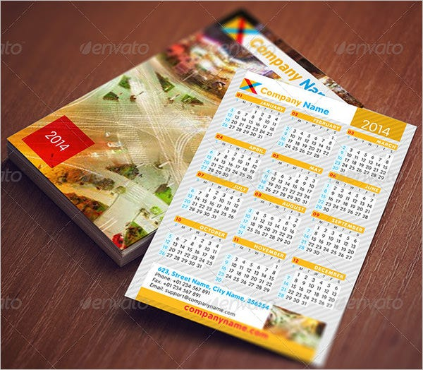 Pocket Calendar Set Template