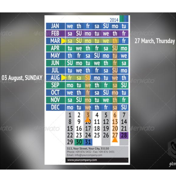 pocket calendar set template1