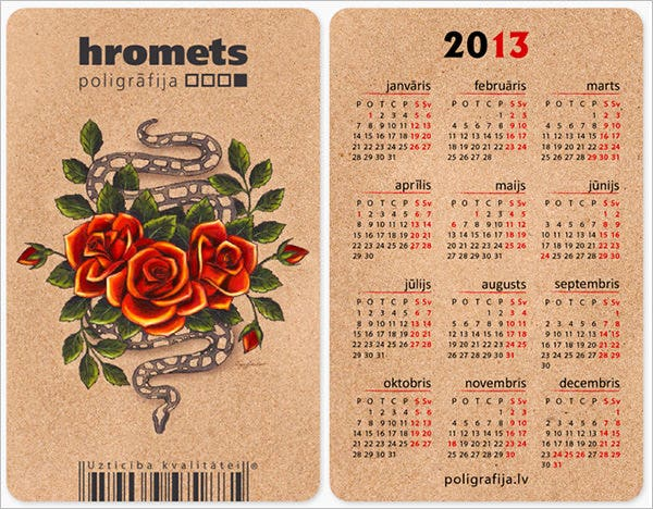 Printable wallet size calendar promotional laminated wallet cards.